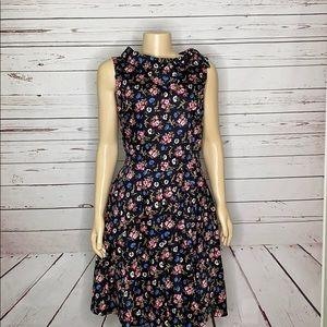 Brooks Brothers black floral midi dress 10